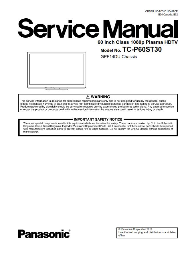 panasonic tc p60st30 tv original service manual and repair guide rh store payloadz com panasonic plasma tv owners manual panasonic plasma tv repair manual