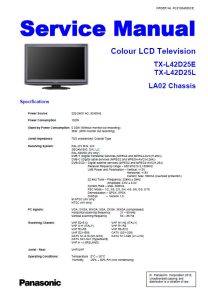 Panasonic TX-L42D25E L42D25L TV Original Service Manual and Repair Guide | eBooks | Technical