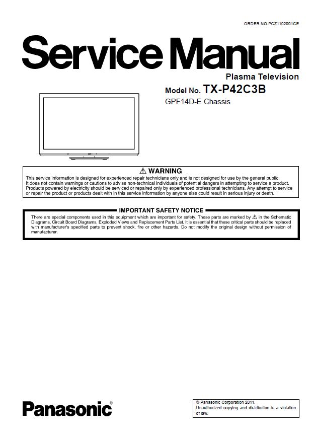 First Additional product image for - Panasonic TX-P42C3B TV Original Service Manual and Repair Guide