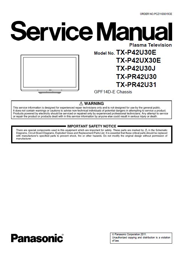 First Additional product image for - Panasonic TX-P42U30E P42U30J P42UX30E TV Original Service Manual and Repair Guide