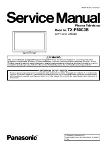 Panasonic TX-P50C3B TV Original Service Manual and Repair Guide | eBooks | Technical