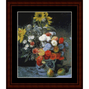Mixed Flowers in a Vase - Renoir cross stitch pattern by Cross Stitch Collectibles | Crafting | Cross-Stitch | Wall Hangings