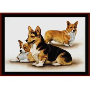 corgis - robert j. may cross stitch pattern by cross stitch collectibles