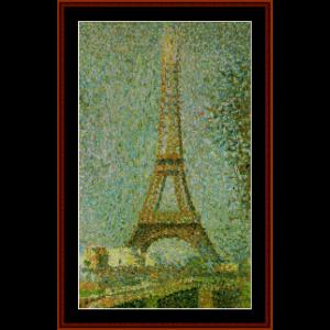 eiffel tower - seurat cross stitch pattern by cross stitch collectibles