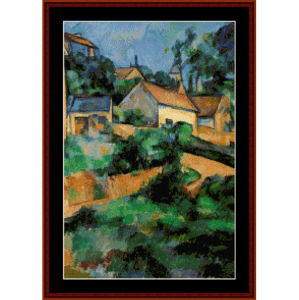 turning road at montgerault - cezanne cross stitch pattern by cross stitch collectibles