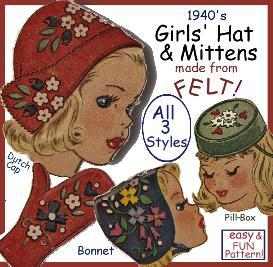 Make CHILD's FELT CAPS & MITTENS!  ALL 3 STYLES! | eBooks | Arts and Crafts