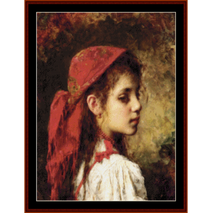 Girl with Red Kerchief - Harlamoff cross stitch pattern by Cross Stitch Collectibles | Crafting | Cross-Stitch | Wall Hangings
