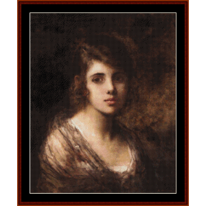 Young Brunette - Harlamoff cross stitch pattern by Cross Stitch Collectibles | Crafting | Cross-Stitch | Wall Hangings