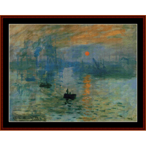 impression, sunrise - monet cross stitch pattern by cross stitch collectibles