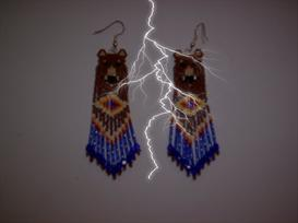 Brick Stitch Grizzly Bear Delica Fringe Earring Pattern | Other Files | Arts and Crafts