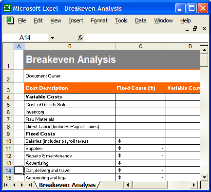 ... Even Analysis In Excel Fieldstation Co. Business Plan Template |  Software | Software Templates  Breakeven Analysis Excel