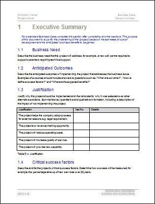 Business Case Template | Software | Software Templates
