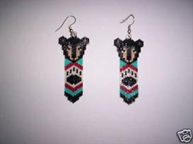 Vertical Brick Stitch Black Bear Feather Earring Pattern | Other Files | Arts and Crafts