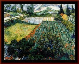 field with poppies - van gogh cross stitch pattern by cross stitch collectibles