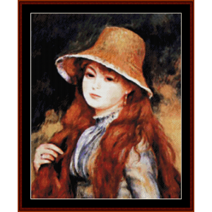 Girl in Golden Hat - Renoir cross stitch pattern by Cross Stitch Collectibles | Crafting | Cross-Stitch | Wall Hangings