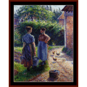 Peasants Chatting - Pissarro cross stitch pattern by Cross Stitch Collectibles | Crafting | Cross-Stitch | Wall Hangings