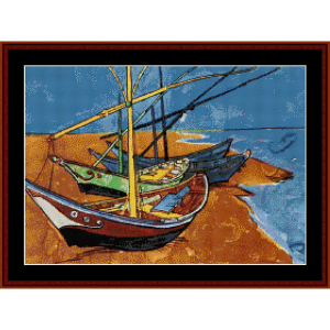 Fishing Boats - Van Gogh cross stitch pattern by Cross Stitch Collectibles | Crafting | Cross-Stitch | Wall Hangings