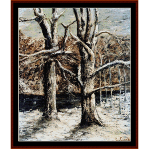 Woods in Snow - Courbet cross stitch pattern by Cross Stitch Collectibles | Crafting | Cross-Stitch | Wall Hangings