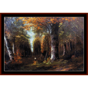 Forest in Autumn - Courbet cross stitch pattern by Cross Stitch Collectibles | Crafting | Cross-Stitch | Wall Hangings