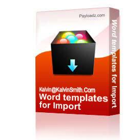 word templates for import & export