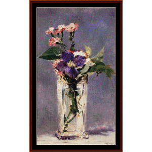 pinks and clematis in vase - manet cross stitch pattern by cross stitch collectibles