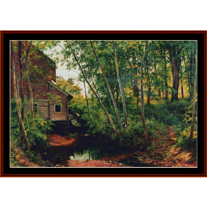 mill in the forest - shishkin cross stitch pattern by cross stitch collectibles