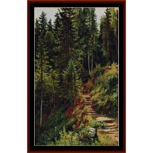 path in the forest - shishkin cross stitch pattern by cross stitch collectibles