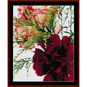 blooming carnations - floral cross stitch pattern by cross stitch collectibles