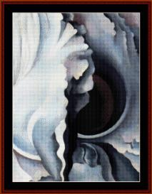 dark iris iii - o'keeffe cross stitch pattern by cross stitch collectibles