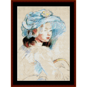 young girl with basket - morisot cross stitch pattern by cross stitch collectibles