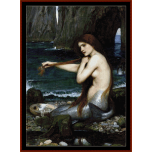 mermaid - waterhouse cross stitch pattern by cross stitch collectibles
