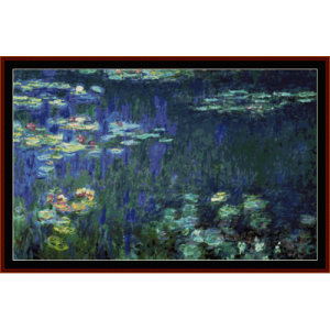 water lilies postersize - monet cross stitch pattern by cross stitch collectibles