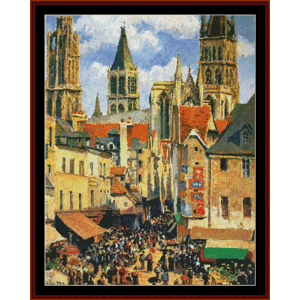 Old Market at Rouen - Pissarro cross stitch pattern by Cross Stitch Collectibles | Crafting | Cross-Stitch | Wall Hangings