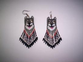 Brick Stitch Wolf Delica Seed Beading Fringe Earring Pattern | Other Files | Arts and Crafts
