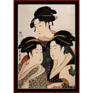 three beauties - asian art cross stitch pattern by cross stitch collectibles