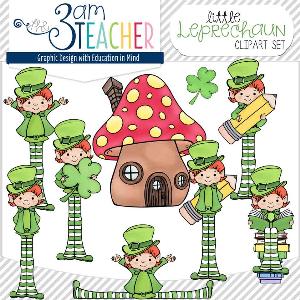 little leprechaun clipart set