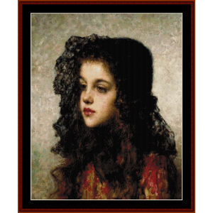 Little Girl with Veil - Harlamoff cross stitch pattern by Cross Stitch Collectibles | Crafting | Cross-Stitch | Wall Hangings