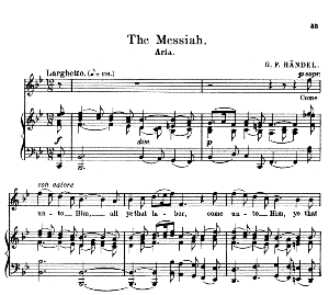 Come unto him, all ye that labor. Soprano Aria: G.F.Haendel: Messiah, HWV 56,.Vocal Score. Schirmer Anthology of Sacred Song: Soprano (M. Spicker). Ed. Schirmer (PD)   eBooks   Sheet Music