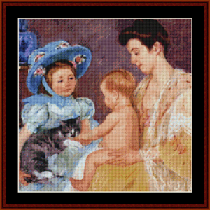 child playing with cat - cassatt cross stitch pattern by cross stitch collectibles
