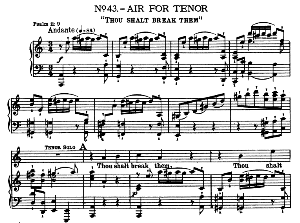 Thou shalt break them. Aria for Tenor. With recitative He that dwelleth in Heaven...  G.F.Haendel: Messiah, HWV 56. Vocal Score, Ed. Schirmer (Spicker-Noble). 1912. | eBooks | Sheet Music