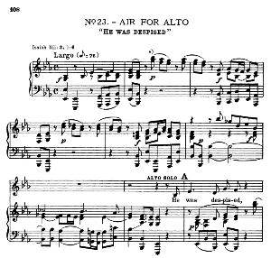 He was despised. Aria for Alto/Countertenor. G.F.Haendel: Messiah, HWV 56. Vocal Score, Ed. Schirmer  (Spicker-Noble). 1912. PD. | eBooks | Sheet Music