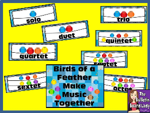 bird ensembles bulletin board kit