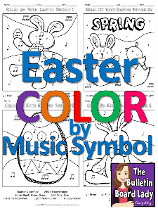 easter color by music symbol-set of 8 color sheets