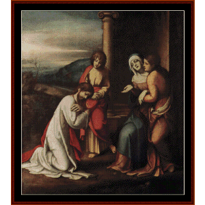 daparture of christ from mary - correggio cross stitch pattern by cross stitch collectibles