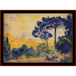 provence landscape - cross cross stitch pattern by cross stitch collectibles