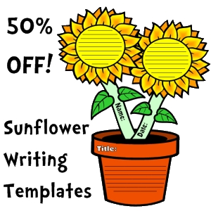 50% off sunflower creative writing templates
