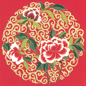 vintage red chinese flower circle