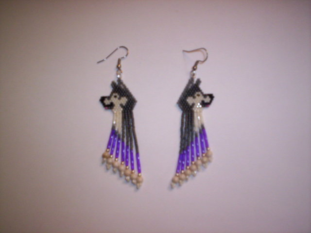 First Additional product image for - Brick Stitch Malamute/Sled Dog Delica Seed Beading Earring  Pattern