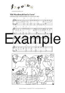 wheels on the bus (uk) sheet music and colouring