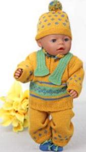 dollknittingpatterns - 0110d gina - sweater, pants, short-sleeved sweater, scarf, hat and socks